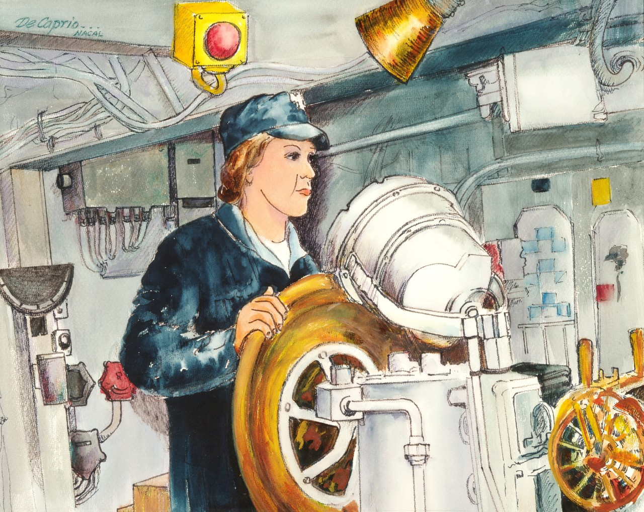 A female sailor is at the helm of a ship