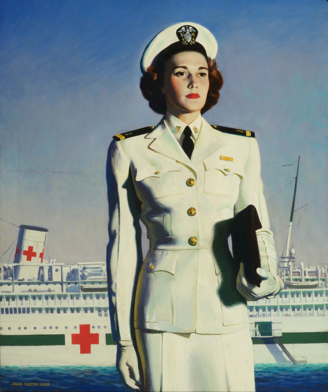 WAVE officer standing in front of a Hospital Ship