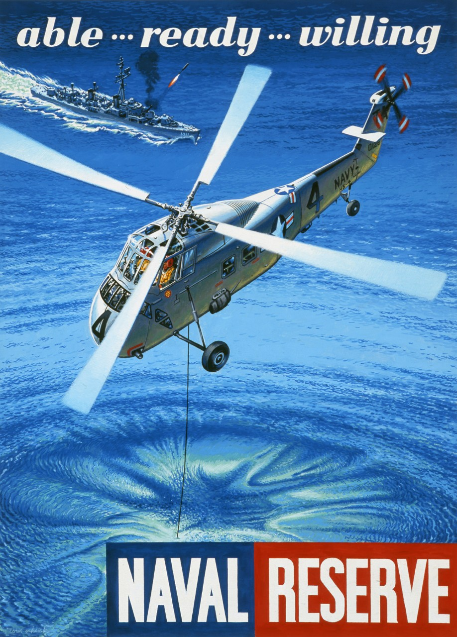 A helicopter drops sonar into the water, in the background a ship fires a missile. Text Able Ready Willing is at top and Naval Reserve at bottom.