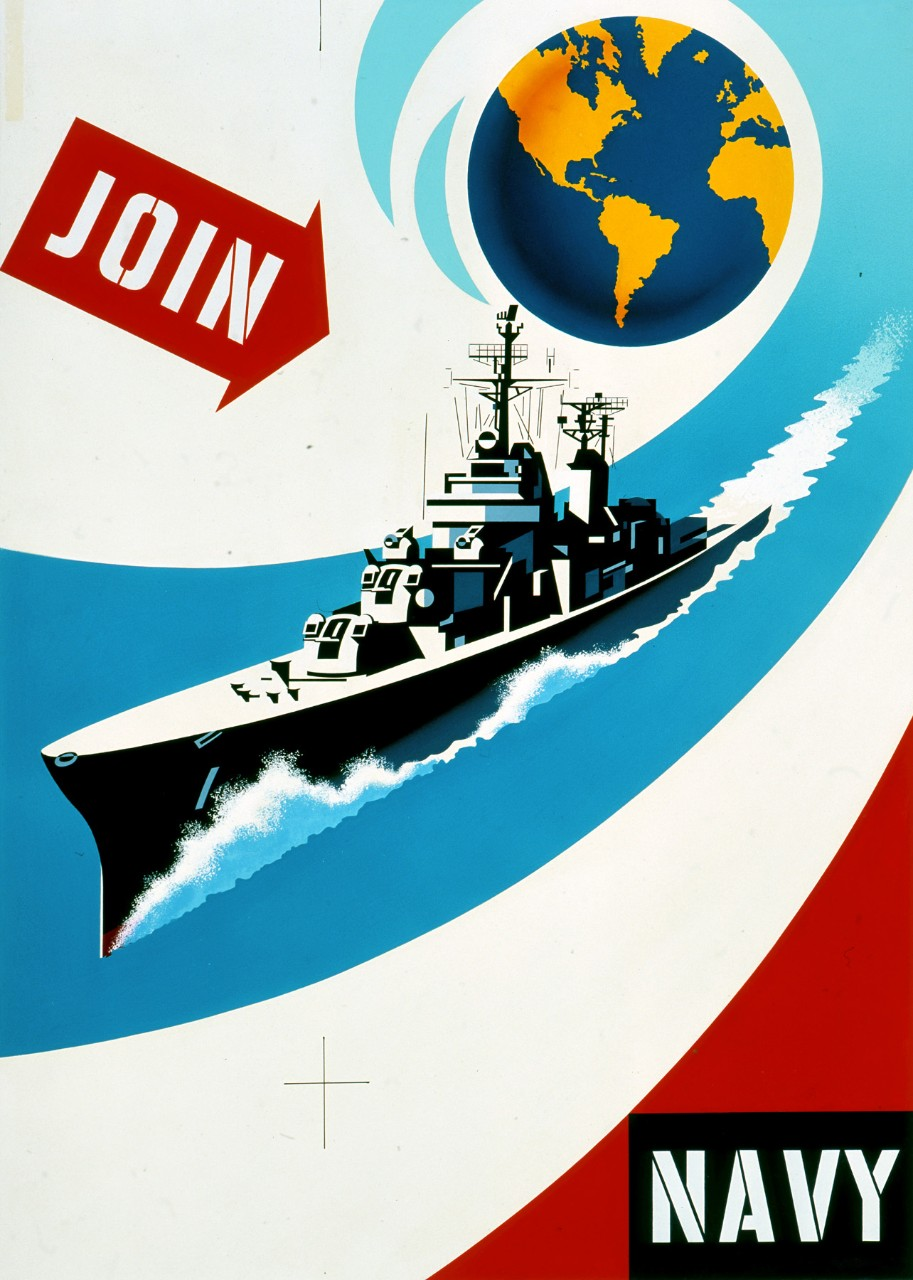 A stylized image of a destroyer with the earth in the upper center with text Join to the left and Navy in the right lower corner.