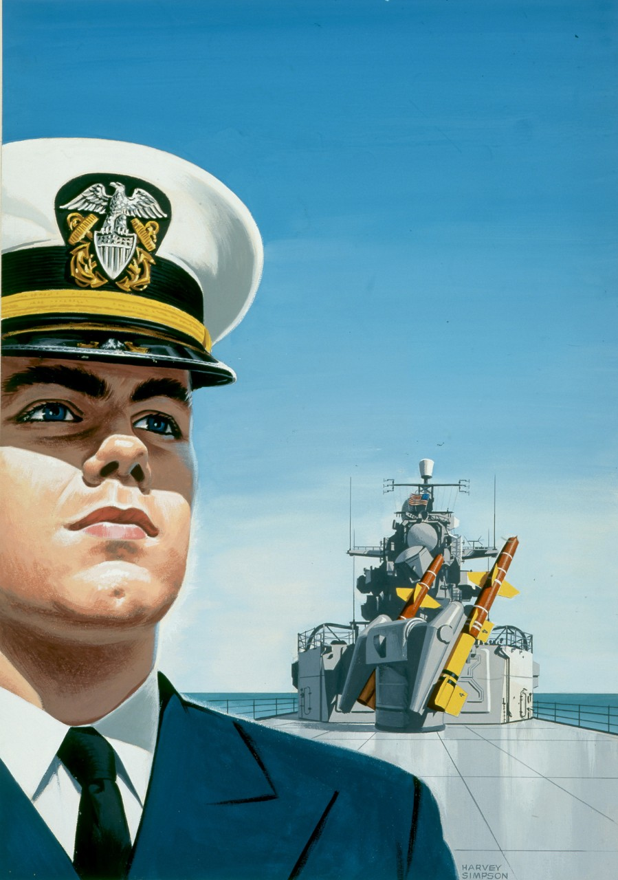 An officer stands on the deck of a ship behind him is a missile launcher.