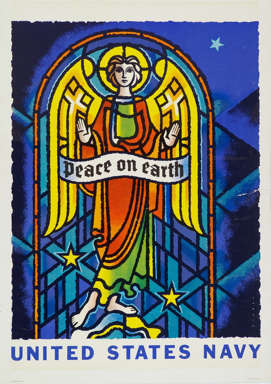 Poster with an image of a stained glassed window with an angel. It is standing behind a banner with text Peace On Earth. The text United States Navy is at bottom.