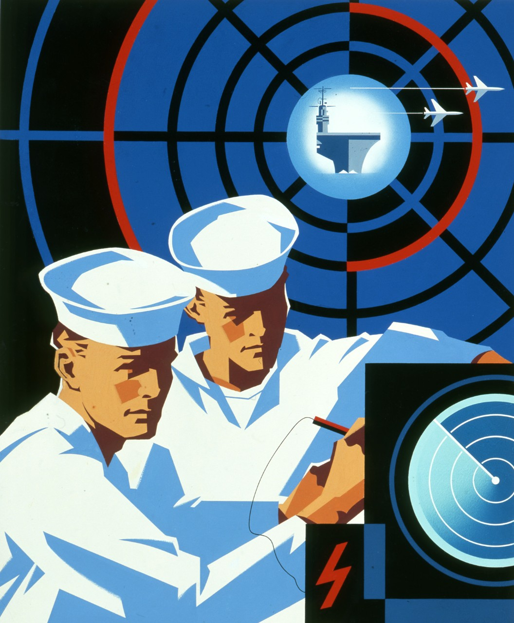 Two sailors work on a radar console, in the background is an image of a radar screen with an aircraft carrier in the center.