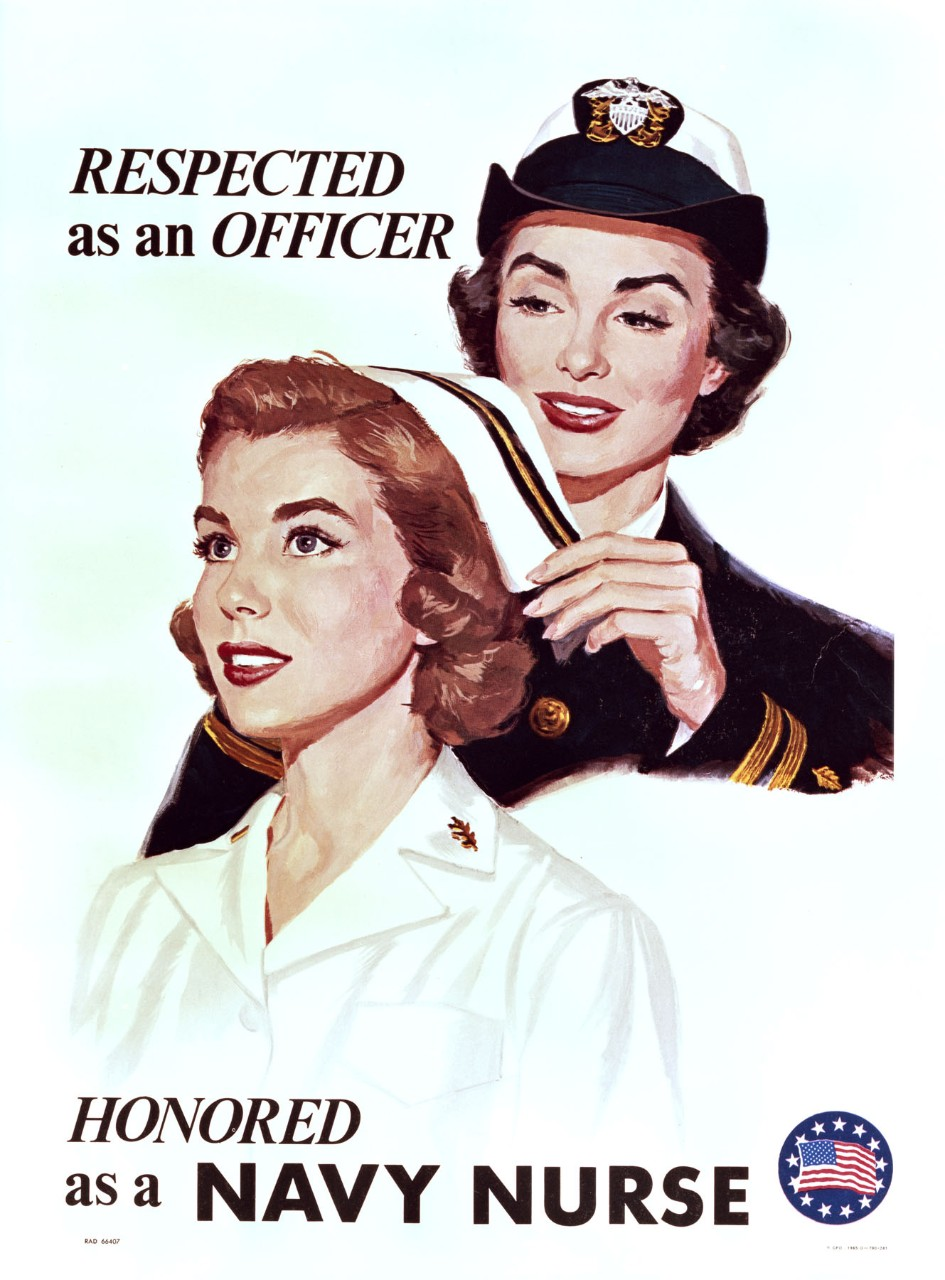 A female officer is adjusting the hat of a nurse. Text at top is text Respected As An Officer and at bottom is Honored As A Navy Nurse.