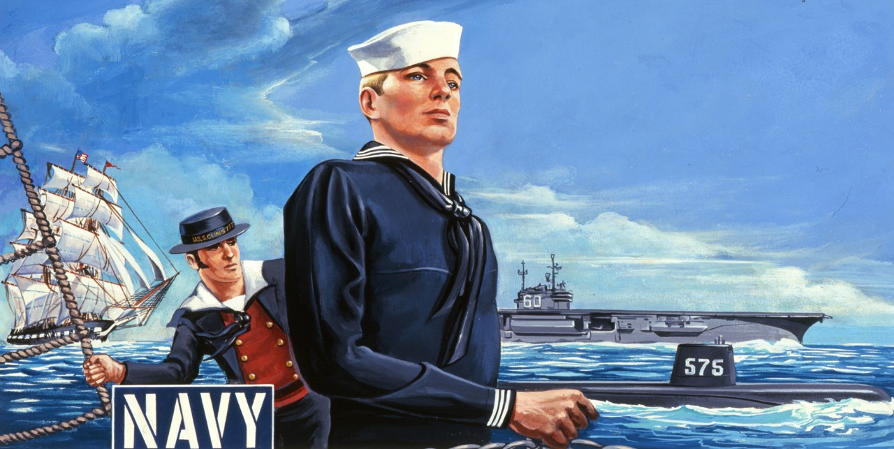 On the left side of the painting is USS Constitution with a sailor dressed in early nineteenth century uniform. On the right is a sailor dressed in a 1950's uniform with an aircraft carrier and a submarine