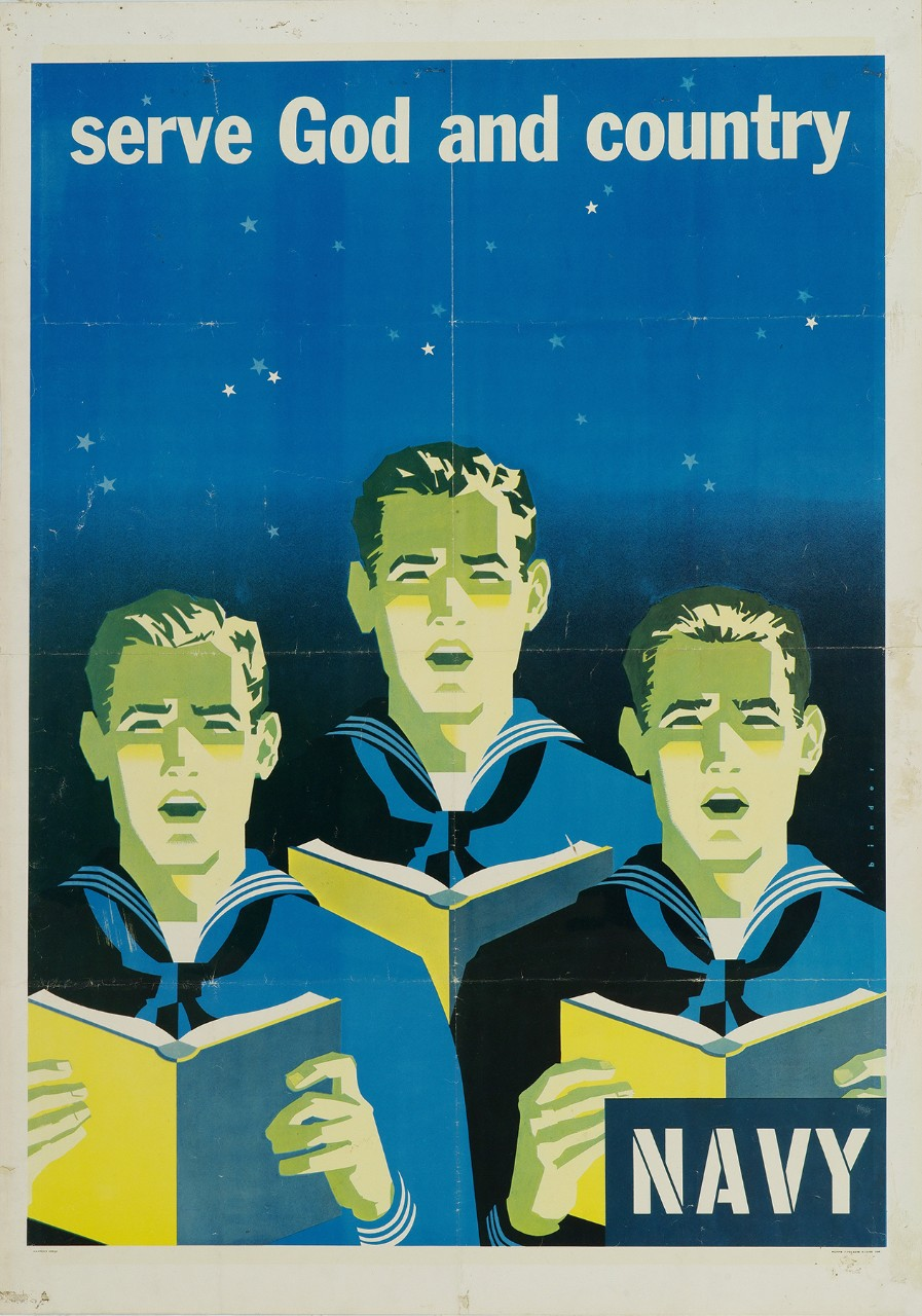 Three sailors singing from songbooks in the background is a night sky with stars.  Text at top is Serve God and Country and in lower right corner is Navy.