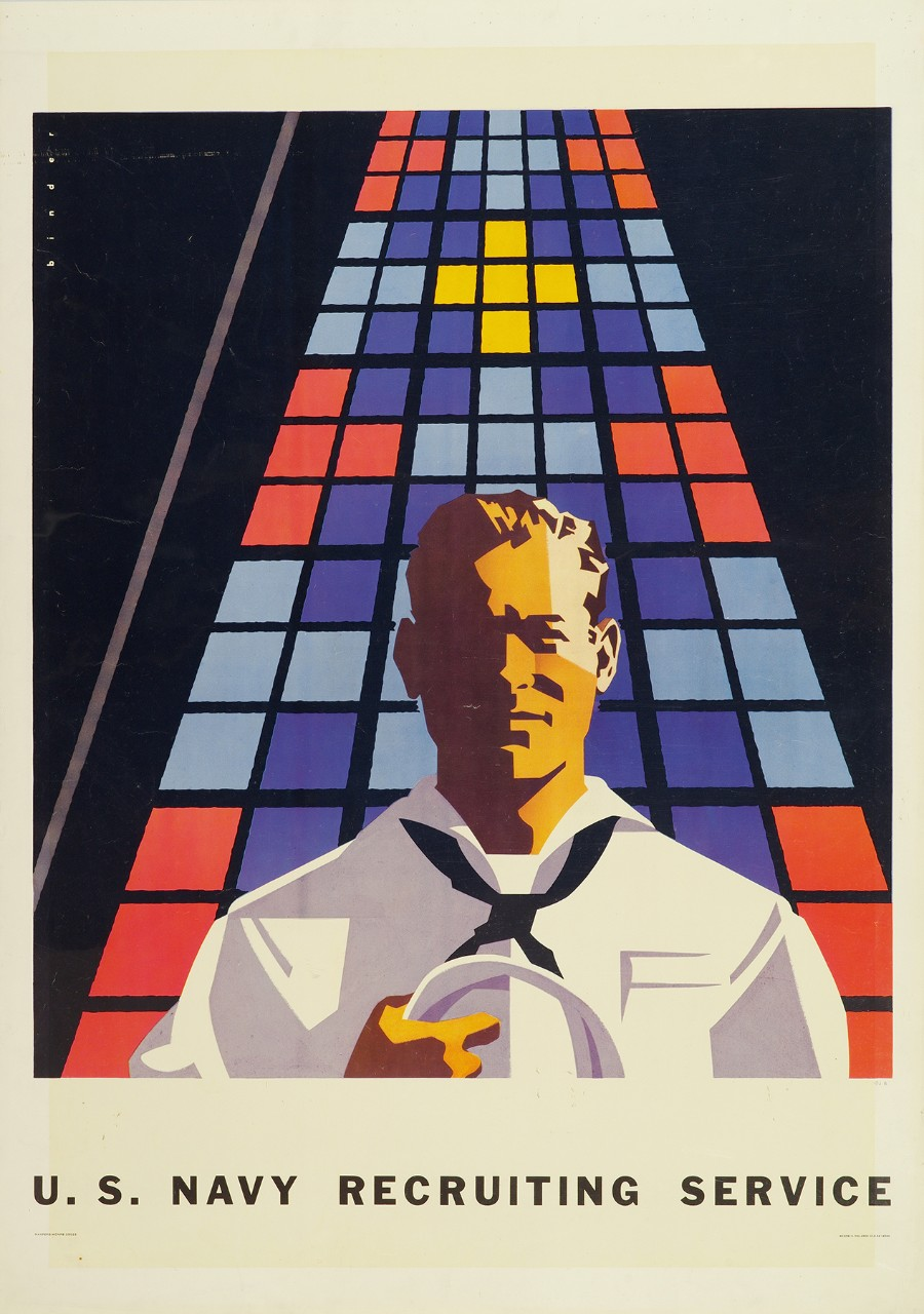 A sailor holding his hat stands in front of a stained glass window. At bottom is text U S Navy Recruiting Service.