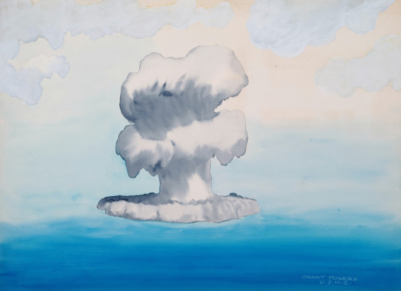 A mushroom cloud rising from the ocean