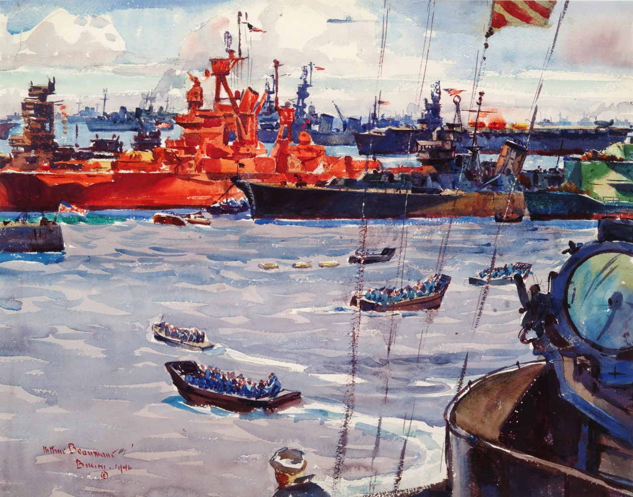 A battleship painted orange is in the center of boats and ships