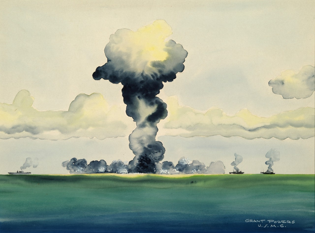 Mushroom cloud with ships at the base
