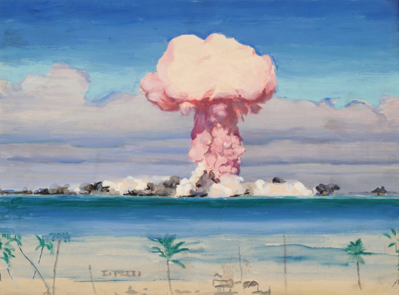 Mushroom cloud with Bikini Island in front