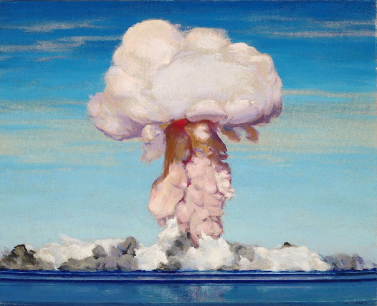 A pink mushroom cloud rises from the lagoon
