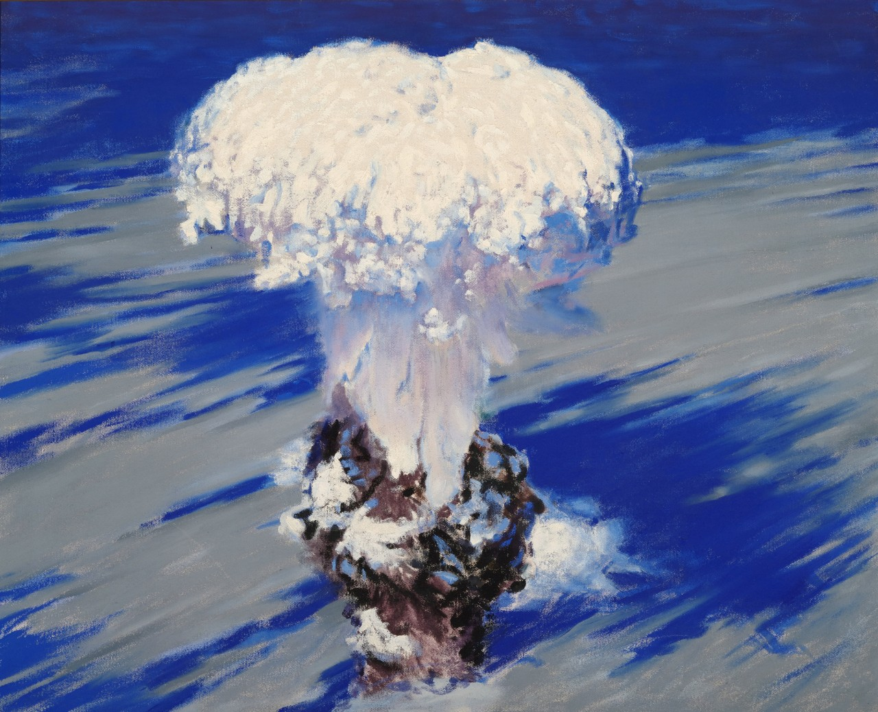 An atom bomb mushroom cloud seen from a top down perspective