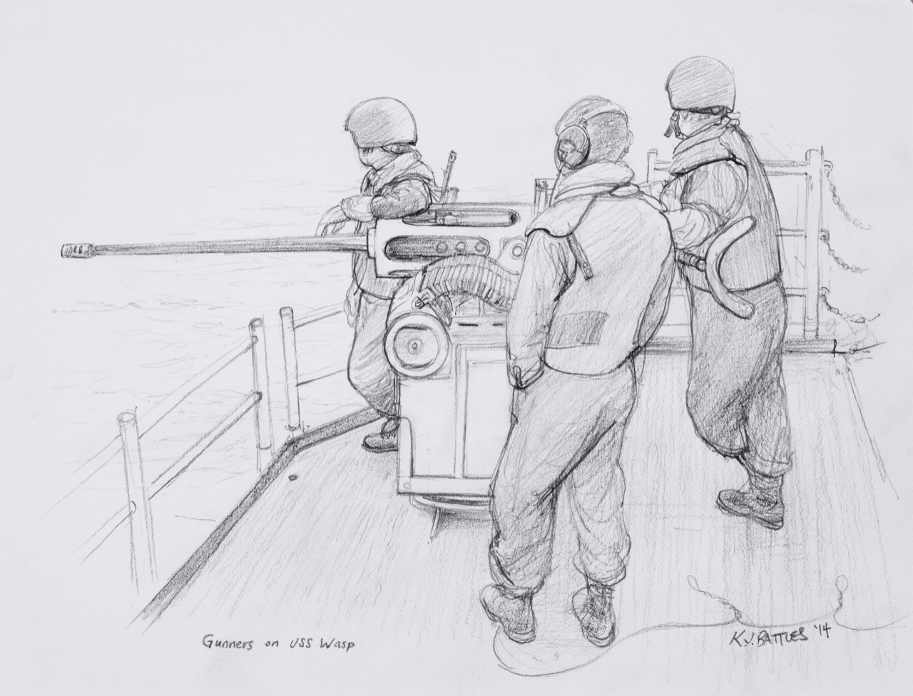 Three crewmen stand next an Mk-38, 22mm deckgun
