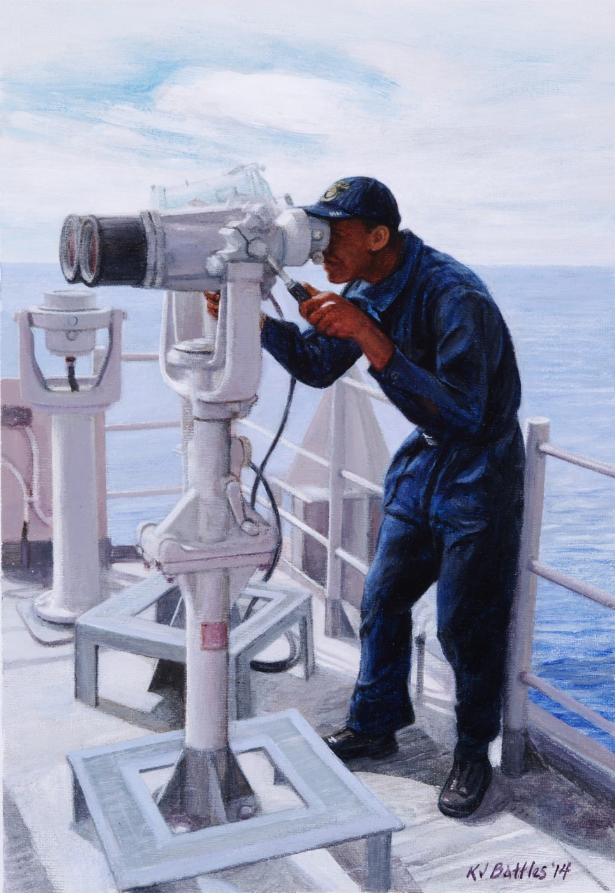 A crewman is looking through binoculars on deck