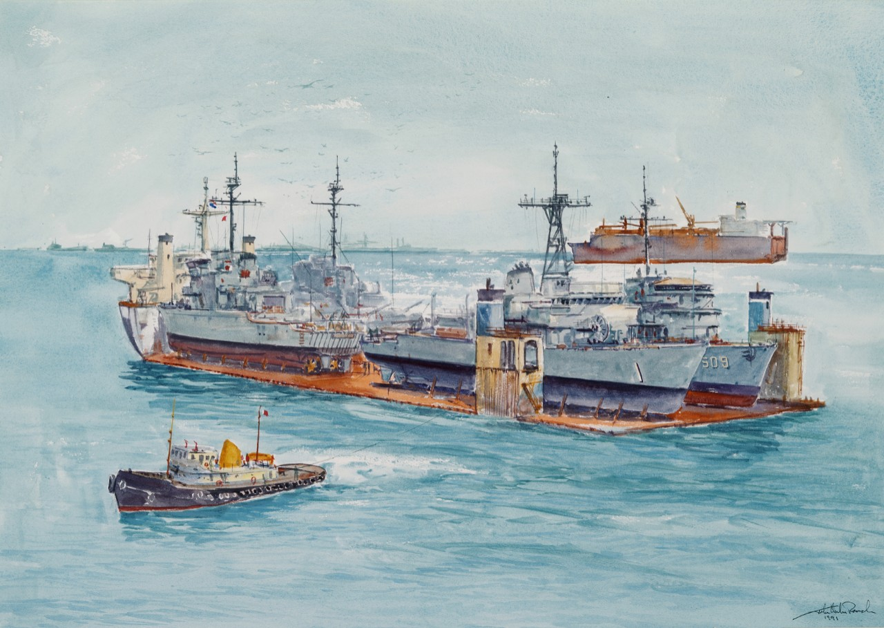 Entering a harbor on a transport ship are four Navy ships with a tug in the foreground