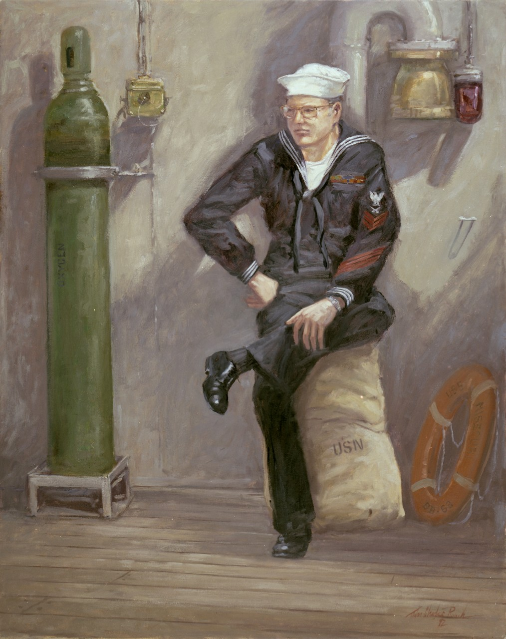 A sailor is seated on a full canvas bag he is leaning against the side of the ship