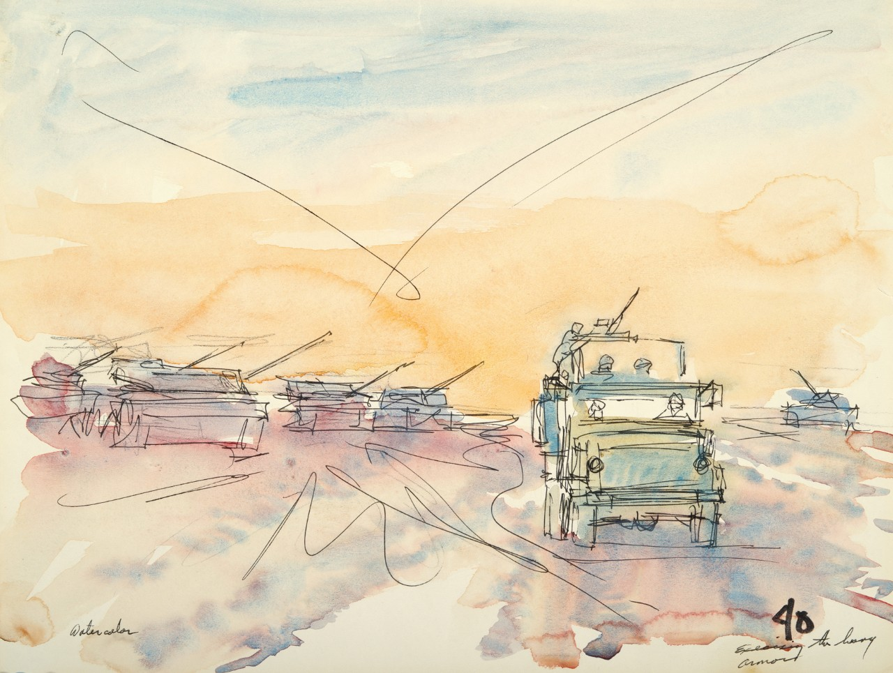 Four tanks are in the background as a small Humvee drives in front of them with the sun setting in background