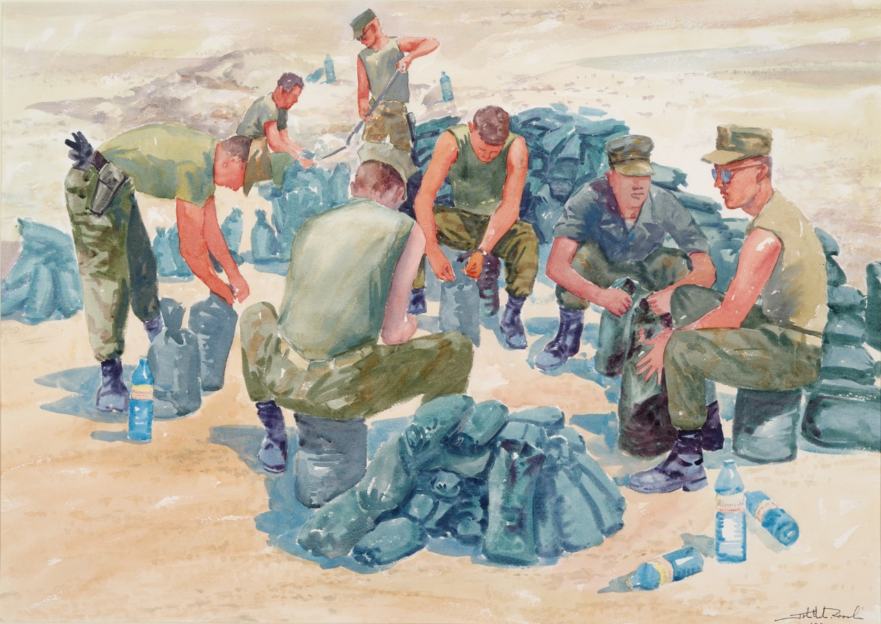 A group of men filling sandbags in an assembly line