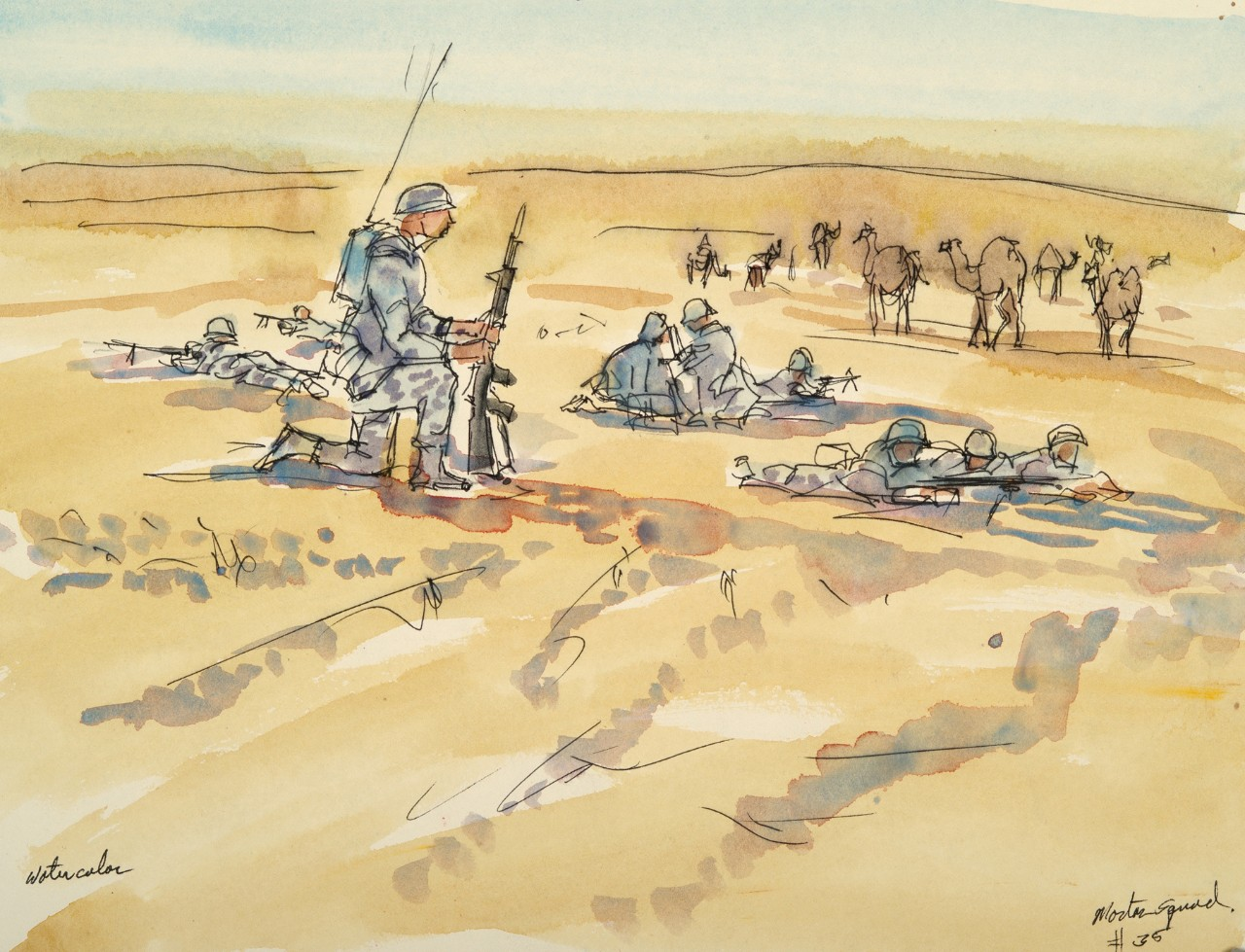 Soldiers in the dessert firing a mortar round
