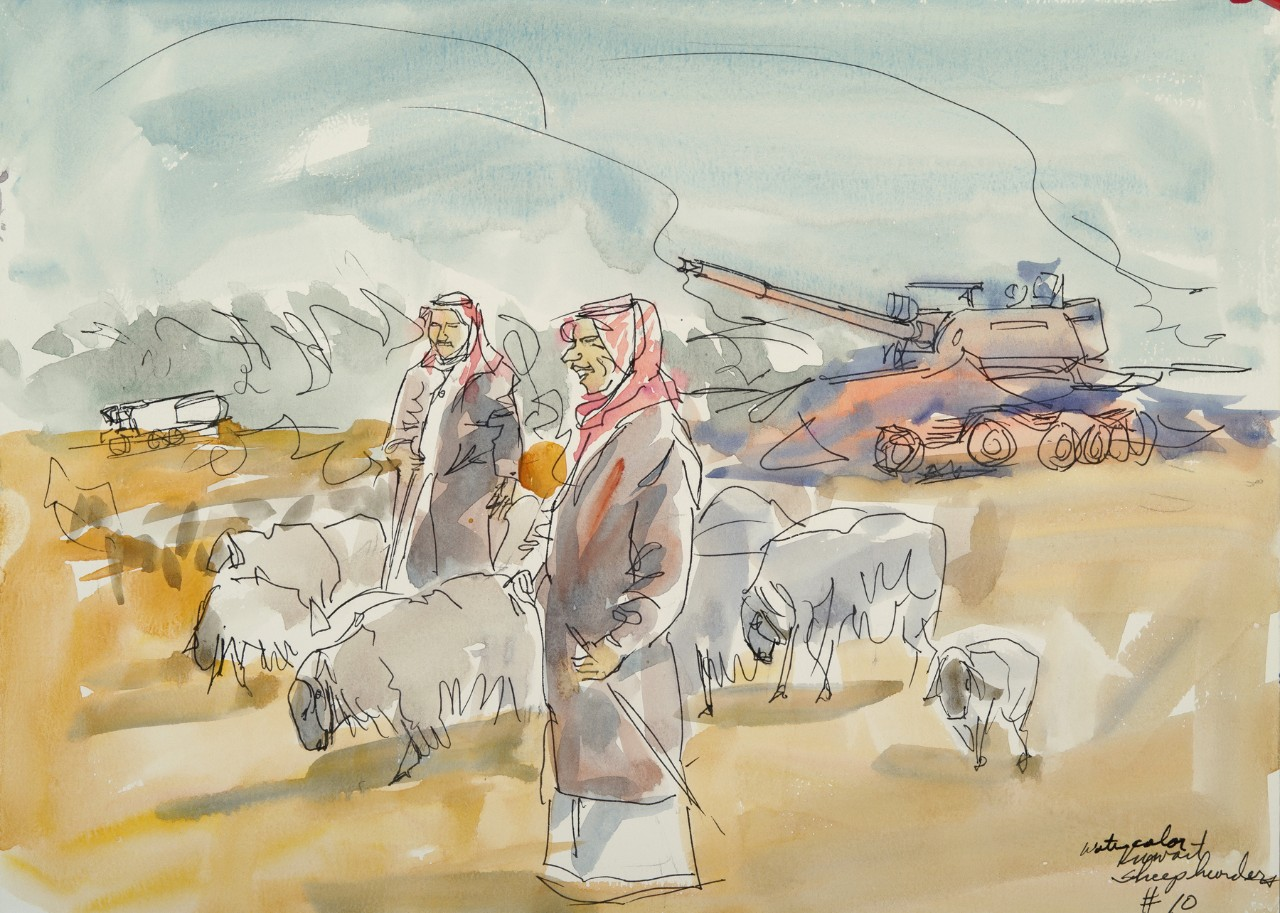 Two men herding sheep, in the background is a wrecked tank