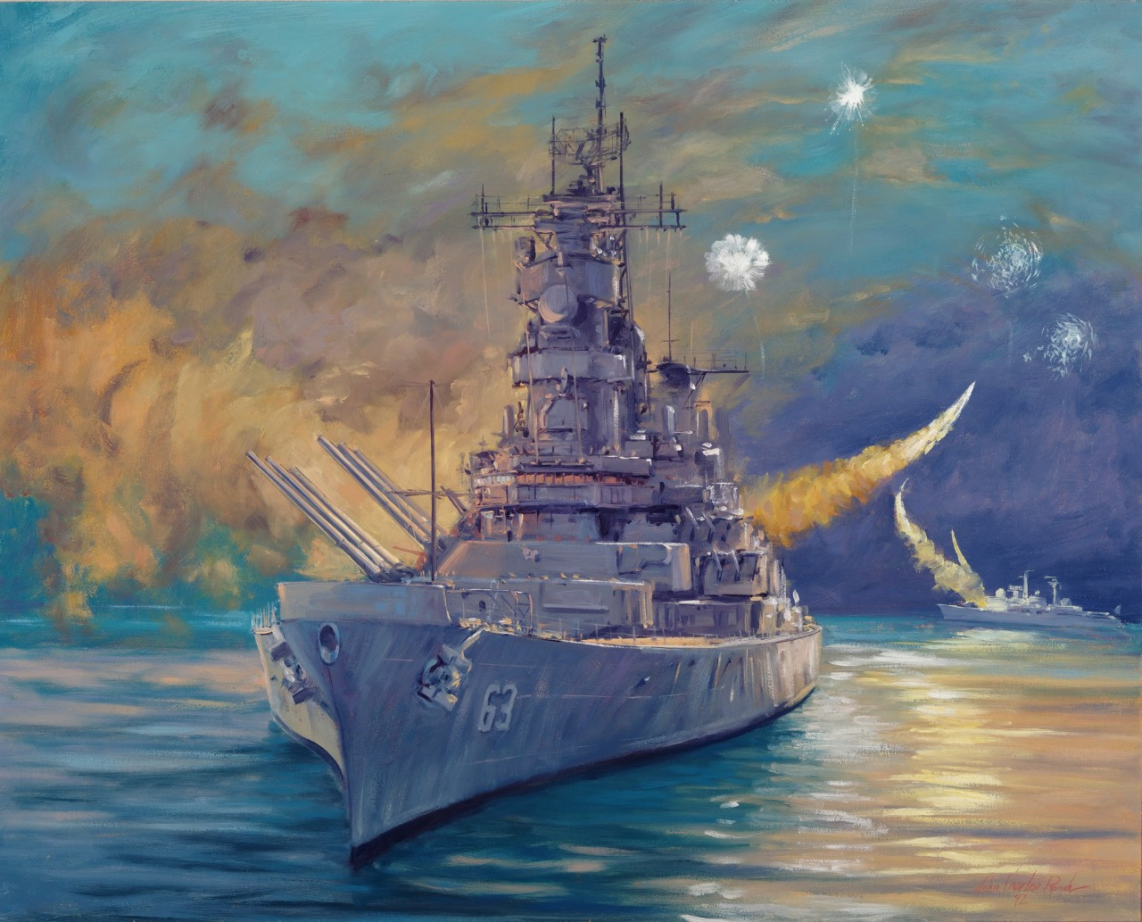 A battleship at night with missiles streaking through the sky