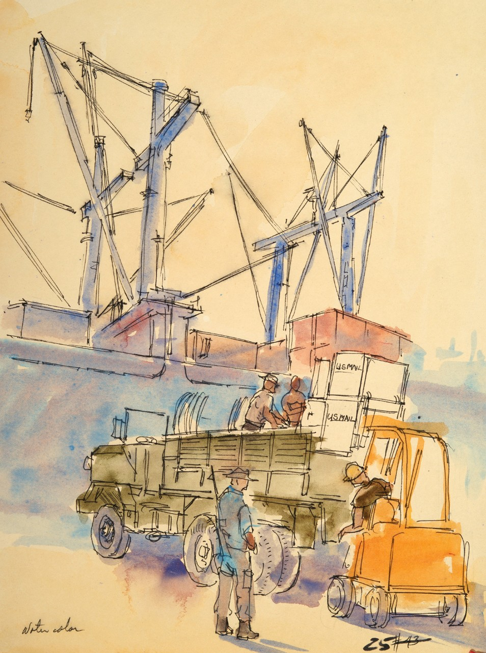 Soldiers load crates of mail from a forklift onto a truck, a ship is in the background next to the pier