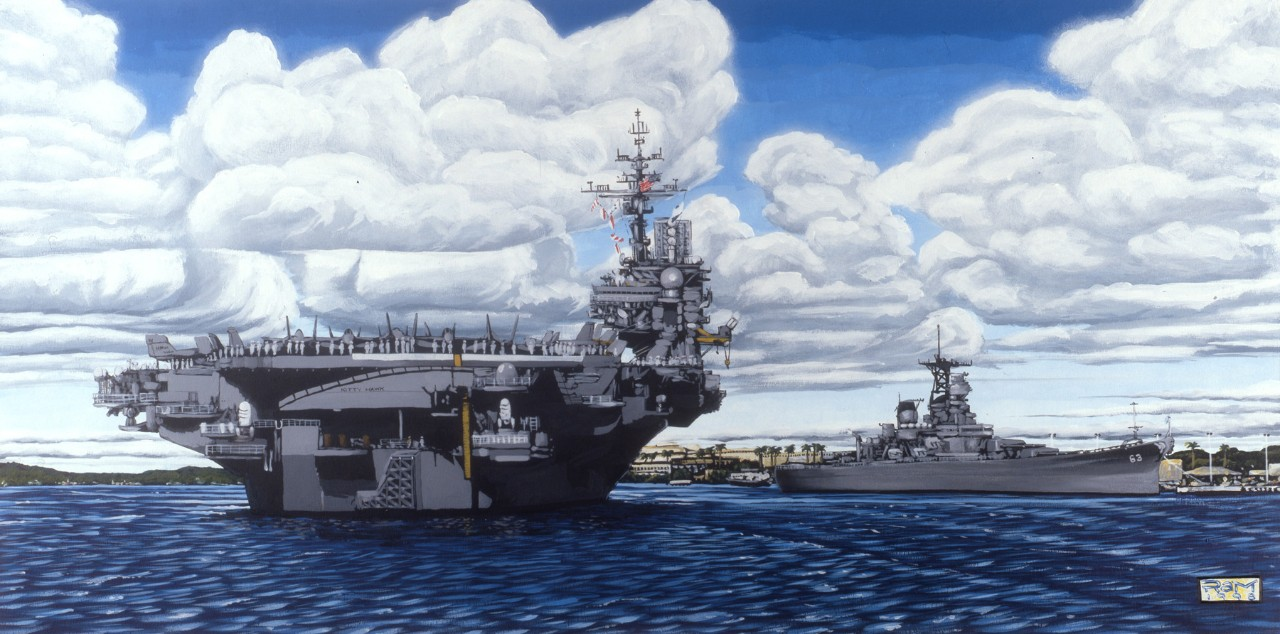 The U.S.S. Kitty Hawk (CVA-62) is in the foreground U.S.S. Missouri (BB-63) is behind it.
