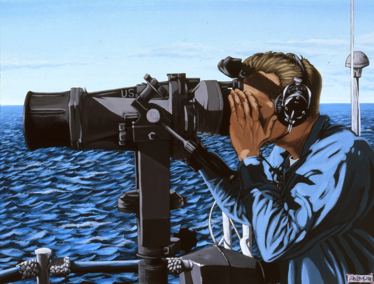 A sailors looks through binoculars on watch