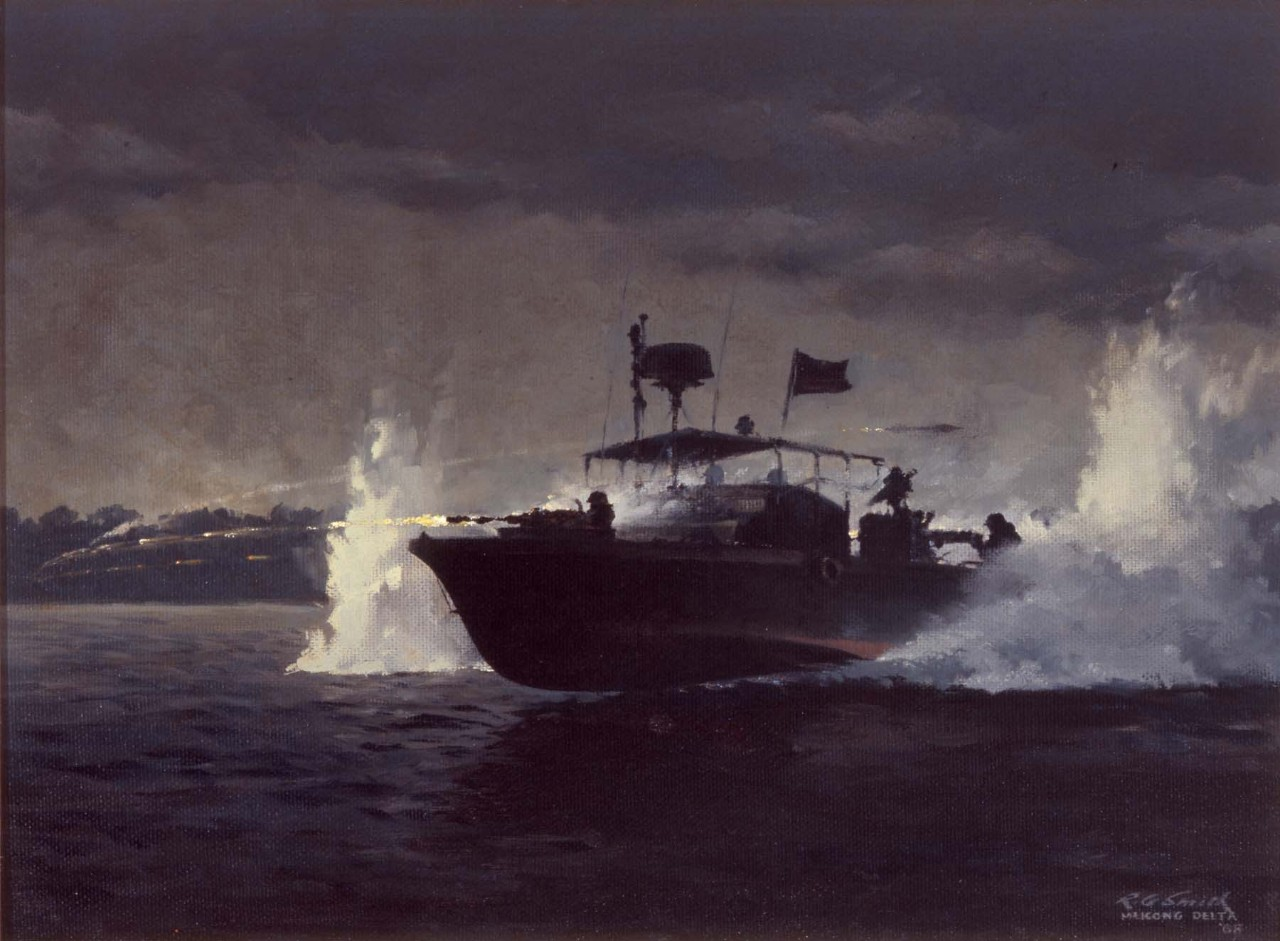 At night a river patrol boat moves up river while firing its gun