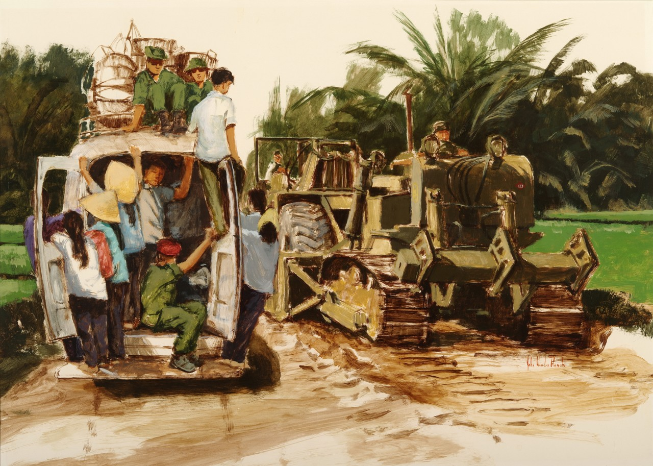 A van with several Vietnamese passes a seabee construction battalion