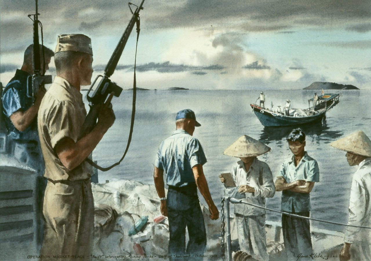 A navy patrol checks the papers of a Vietnamese crew