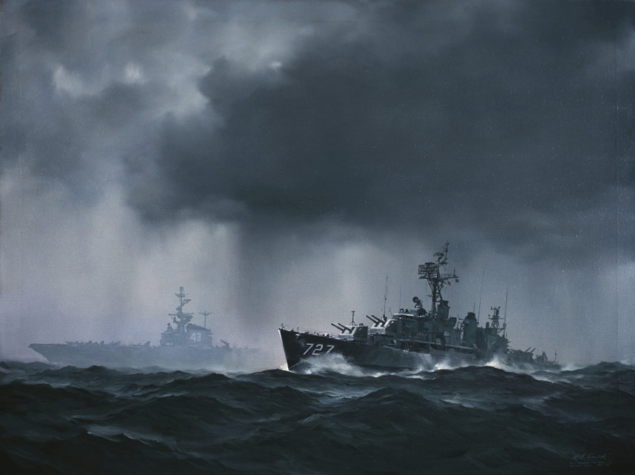 An aircraft carrier is in the background in a rainstorm with a destroyer in the foreground