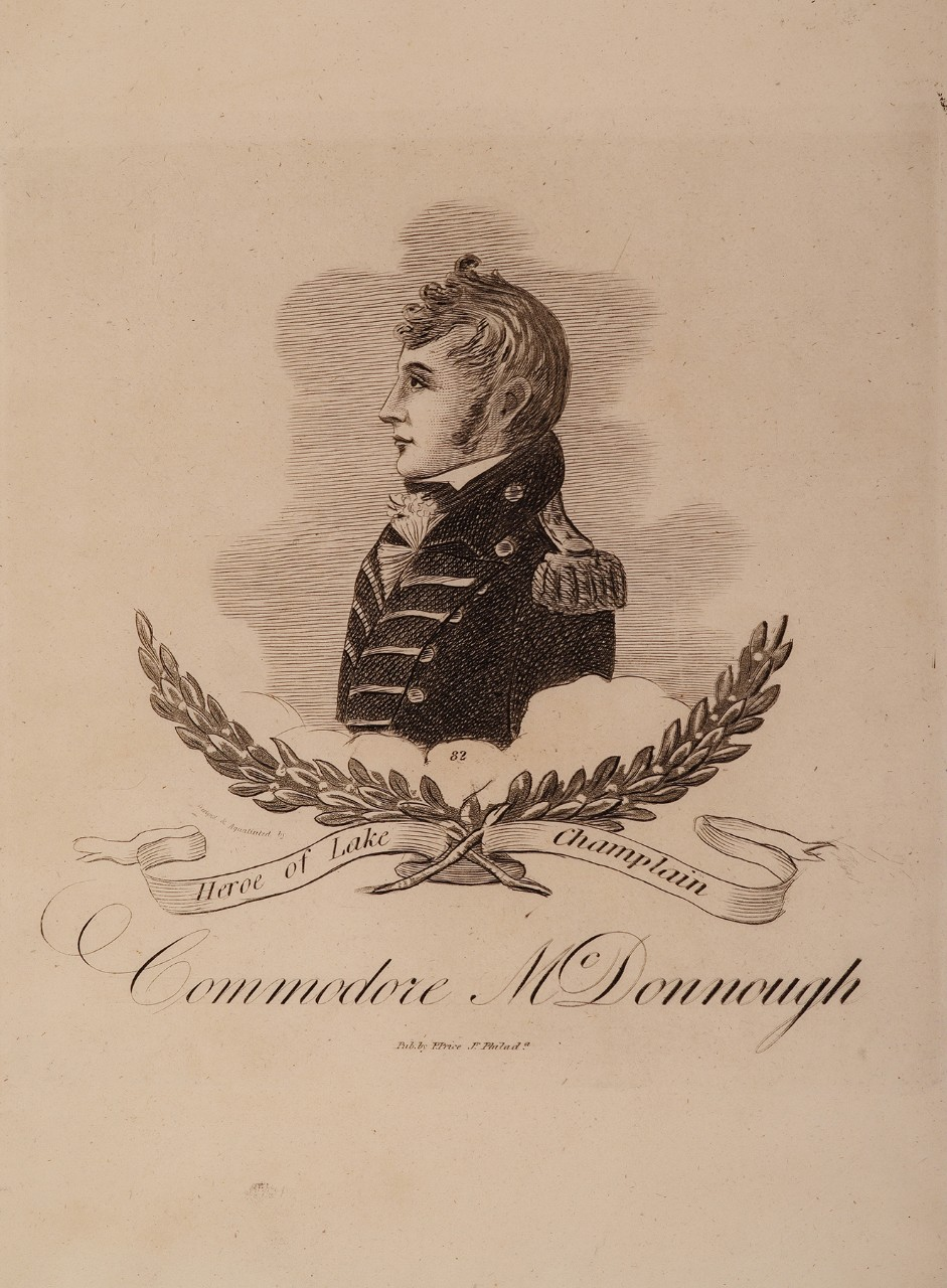 Portrait of Commodore McDonough in profile with laurel garland below the portrait