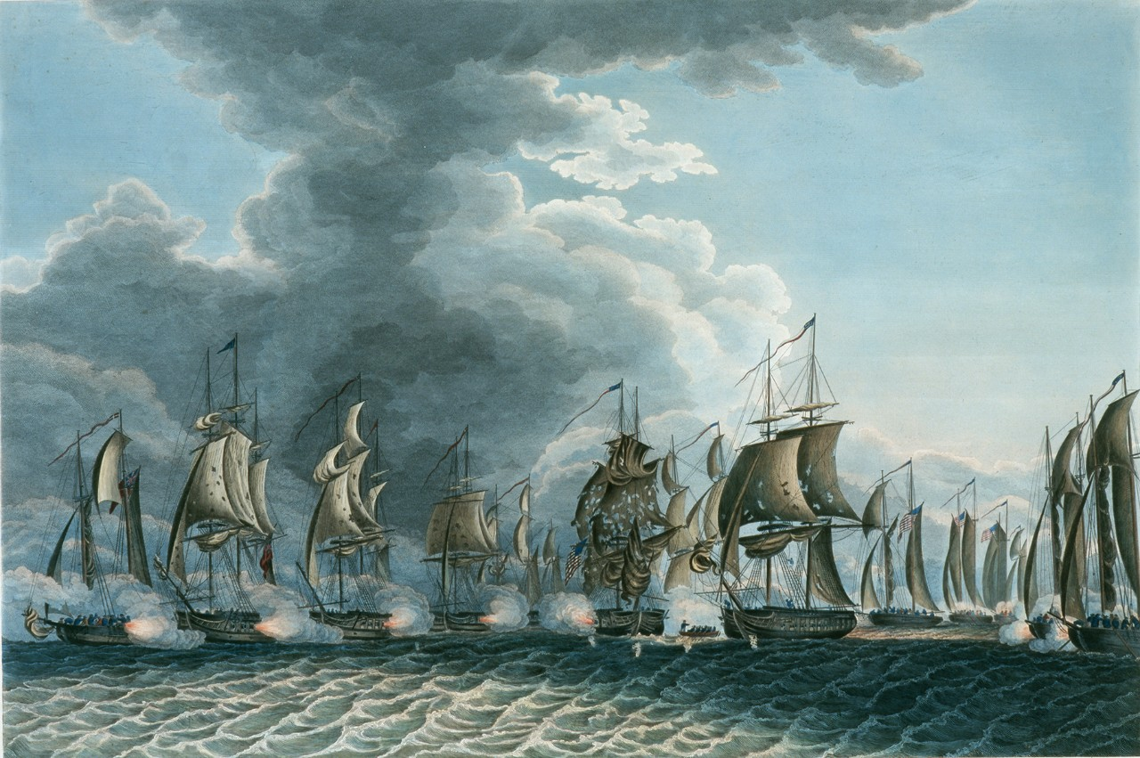 Sailing ships in two lines firing on each