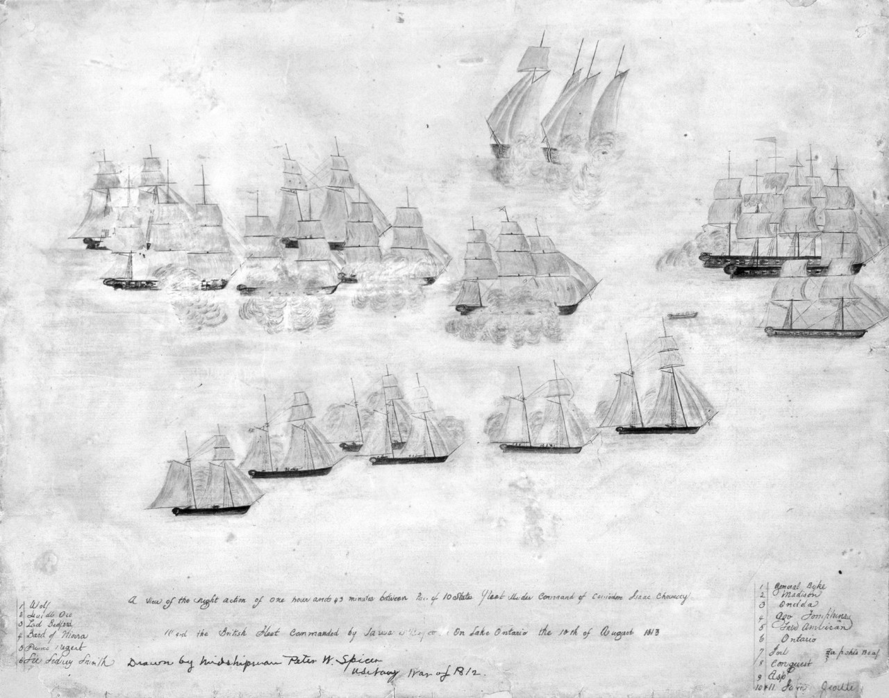 Two lines of ships firing at each other, the ships are coming to a point at the top left, several ships are firing at each other
