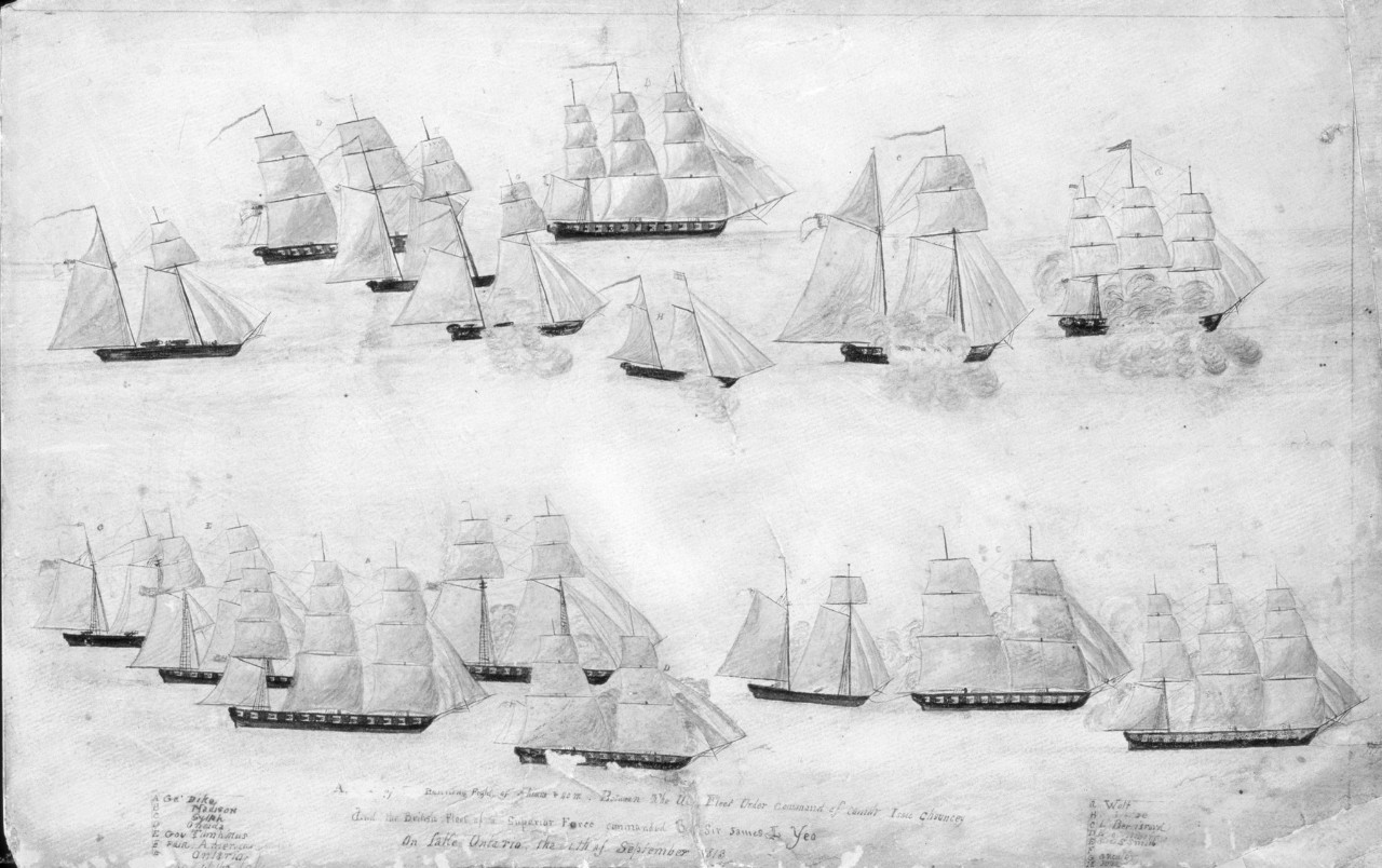 Two lines of ships, one at the top the other towards the bottom, the ships are firing at each other