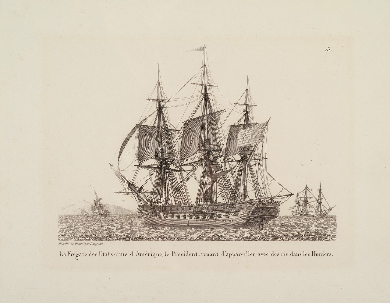 Portside view of a sailing ship at anchor, three other ship in the background