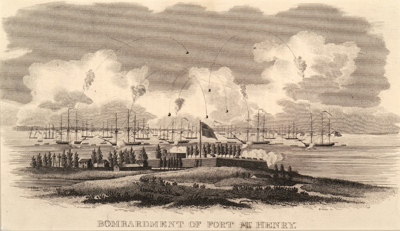 A fort in the background being shelled by ships in the harbor
