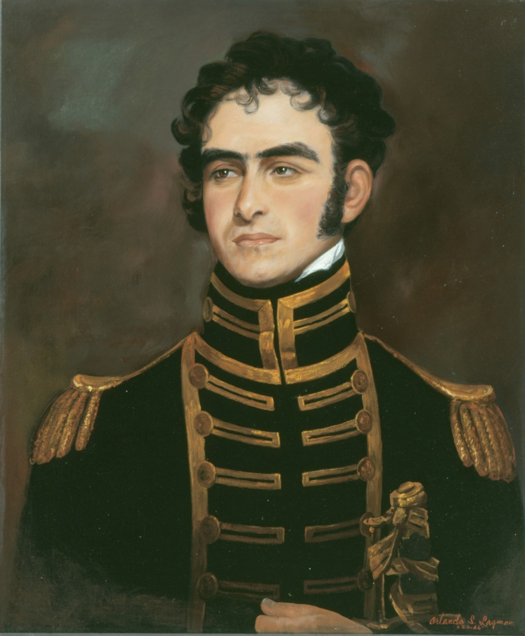 A portrait of Commodore John Rodgers, he is holding his sword in his left hand there is smoke in the background