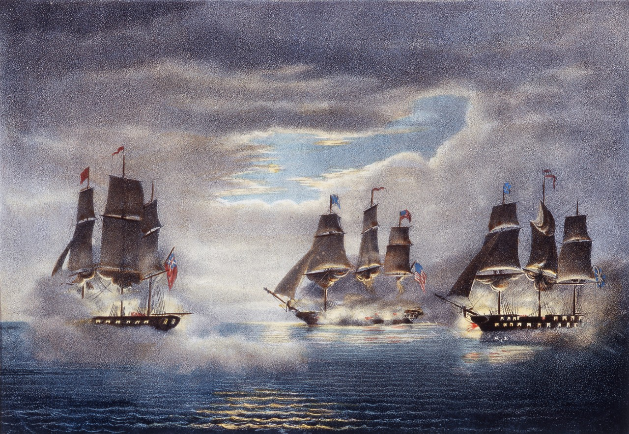 A sailing ship battle at night two ships on the right side firing on a ship on the left side of the image