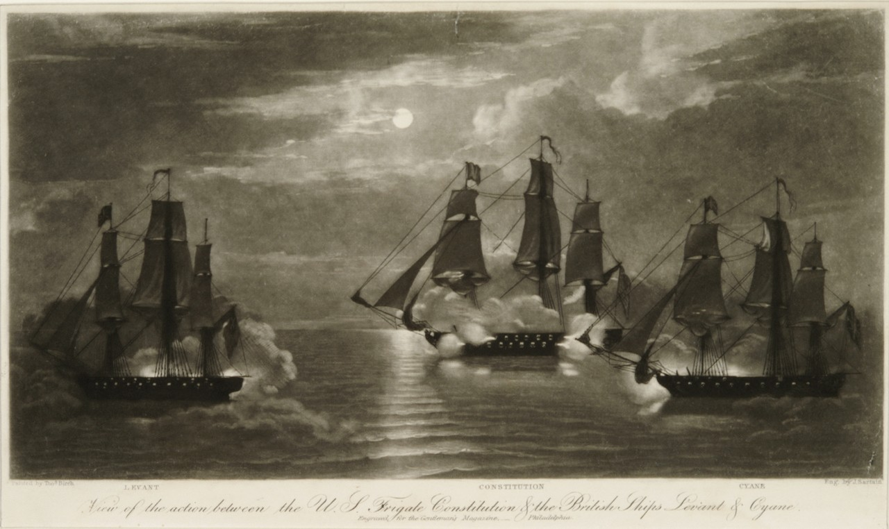 A ship battle at night involving three ships HMS Levant is on the far left with USS Constitution and HMS Cyane on the right. All the ships are firing cannons