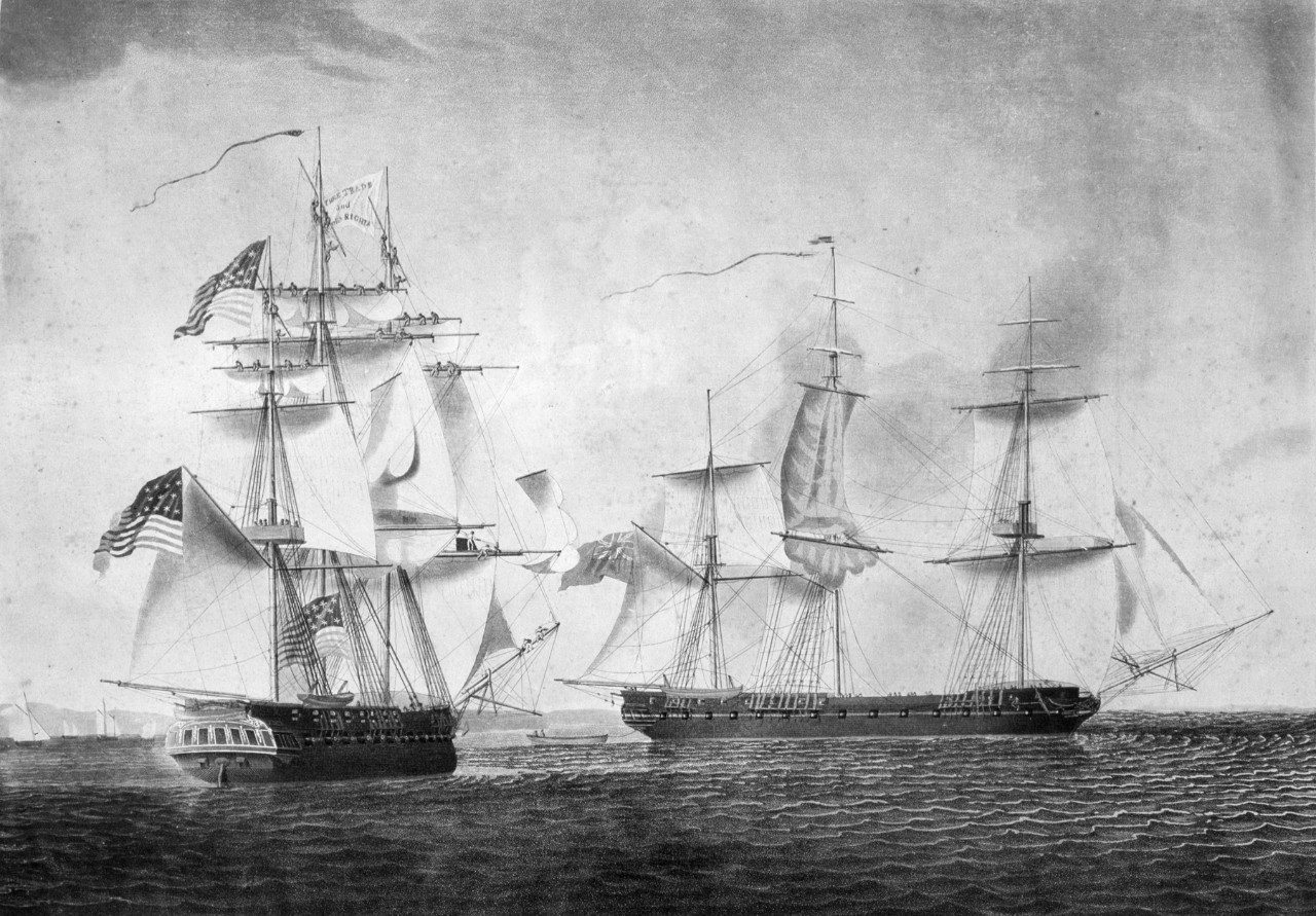 An American ship on the left approaches a British ship on the right