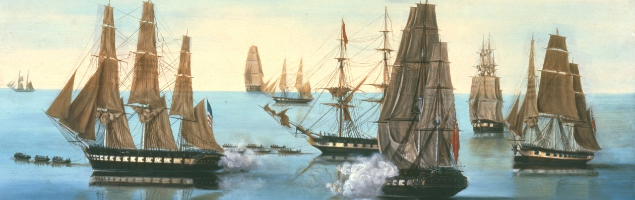 <p>United States Frigate Constitution Chased By British Fleet</p>
