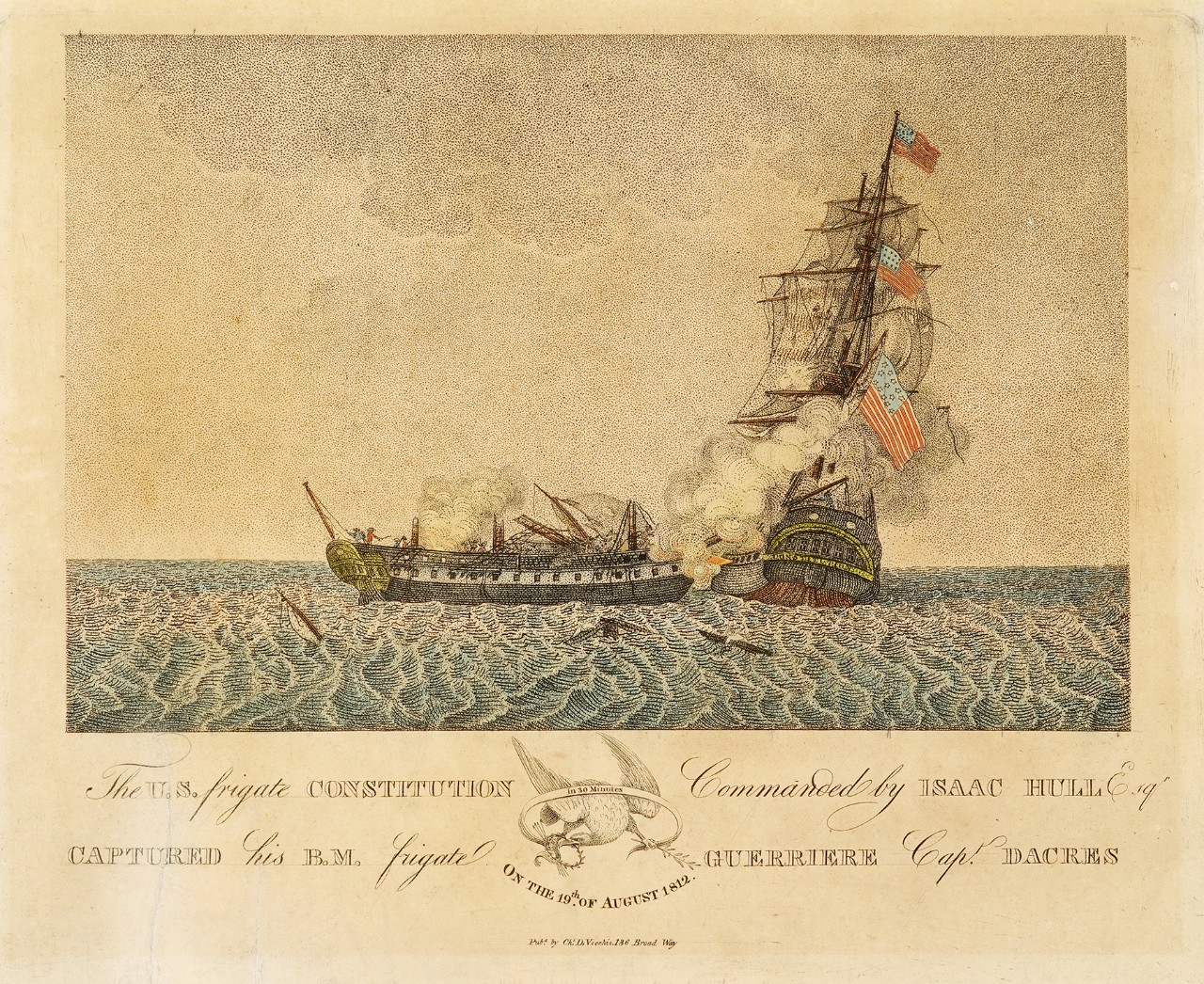 The ship on the right is broadside to the ship on the left, which is demasted and smoking