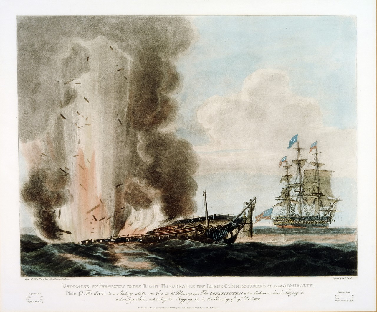 To the left, the British ship is exploding as it sinks, the American ship is in the background