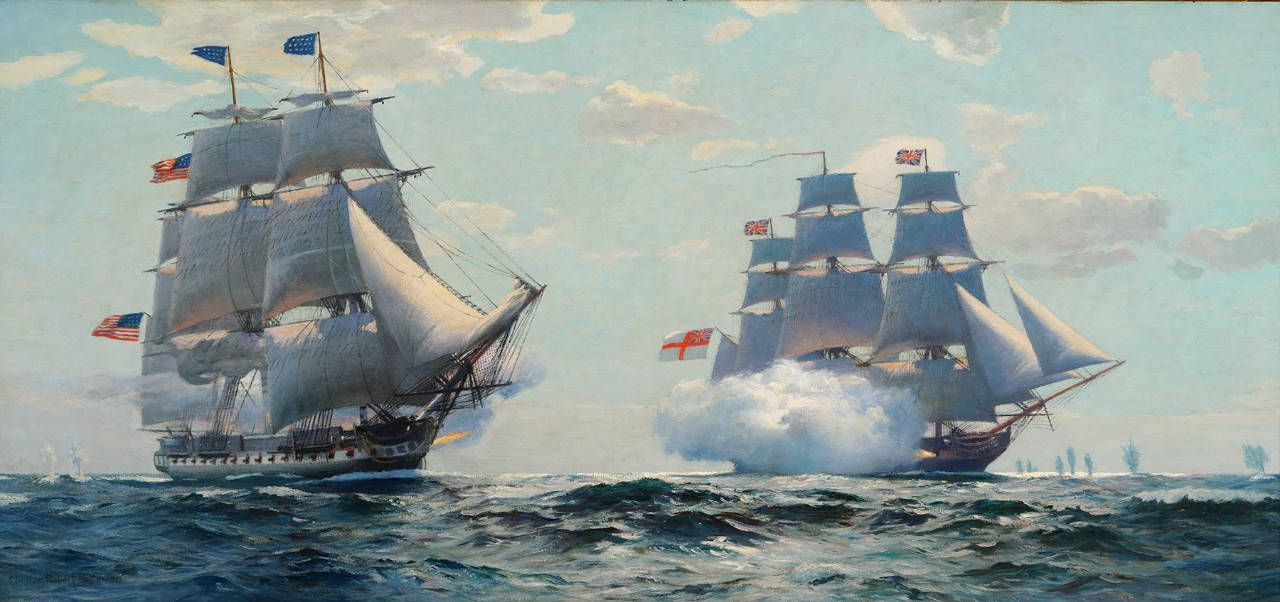 Two sailing ships firing at each other, smoke from the cannon is visible from each ship