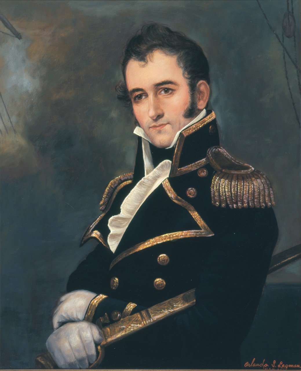 Portrait of David Porter, he is wearing a naval uniform and holding a sword with a smokey background
