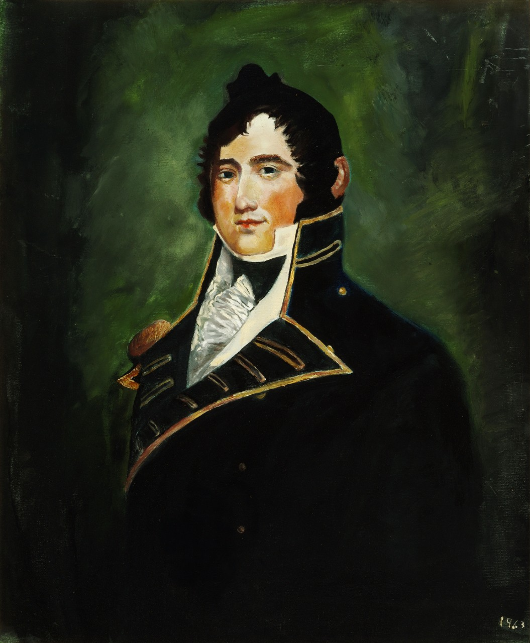 Portrait of James Lawrence with a green background