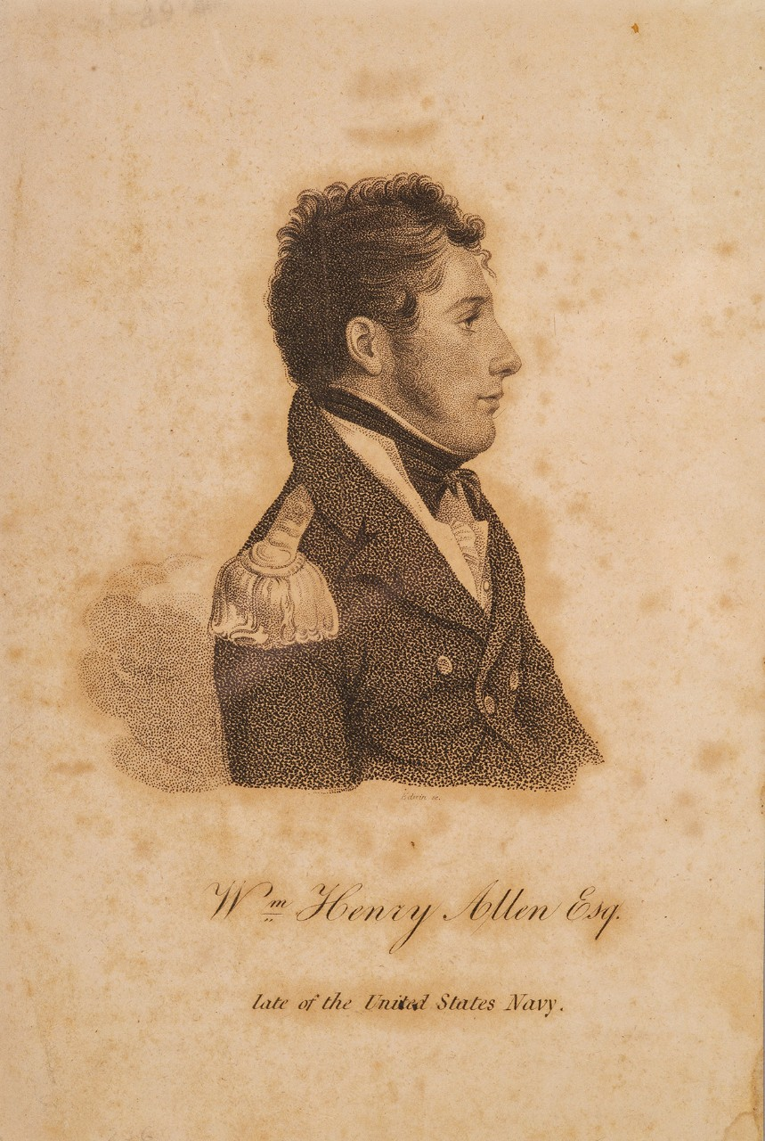 Profile portrait of W Henry Allen in early 19th century uniform